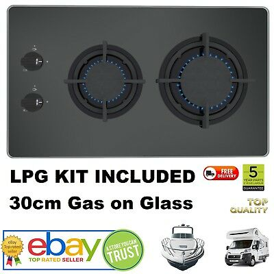 Motorhome Boat Compact Gas Hob In Tempered Glass + LPG KIT Self Build Camper