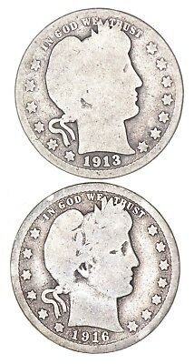 Lot of 2 Early 1892-1916 Barber Liberty Head Quarters 90% Silver - 2 Coins! *972