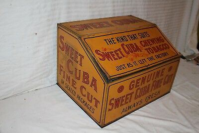 """Large Vintage c.1900 Sweet Cuba Chewing Tobacco 18"""" Metal Tin Can Gas Oil Sign"""