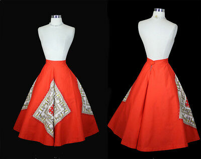 Vintage 50s Fiery Red Coral Novelty Cotton Party Full Dress Skirt M/L