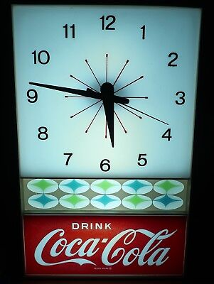 "Vintage ""Drink Coca Cola"" 1960's Coke Clock by Neon Products"