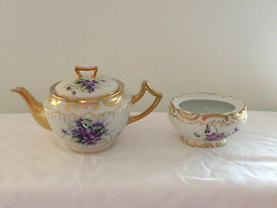 Vintage Limoges Teapot and Sugar Bowl, Gilt with Handpainted Violets