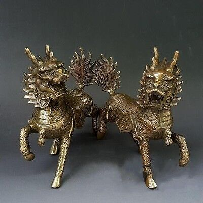 Chinese Pure Brass Animal Fengshui Kylin Unicorn Foot Statue A Pair Antique