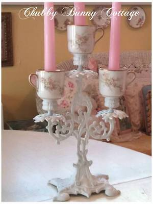 Shabby romantic cottage chic Three tea cup candlelabra