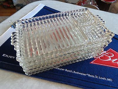5 Antique serving tray glass sushi 3 compartments c1900 thick high quality