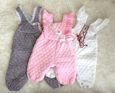 Vtg Lot Baby Girl Quilted Rompers Pink Dotted Ruffle Holiday Eyelet 3-12 Months