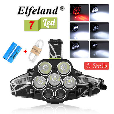 90000LM T6 5X / 7X LED Rechargeable Headlamp Headlight Torch 18650 Lamp Light