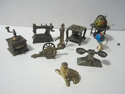 9 x Brass Pieces Seal, Scales, Sewing Machine, Grinder, Pencil Sharpeners