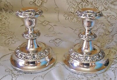 Pair Of Vintage Ianthe Silver Plated Candle Holders Sticks Made In England