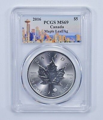 Space Needle Label - 2016 MS-69 Canadian 1 Oz SIlver Maple Leaf PCGS Graded *543