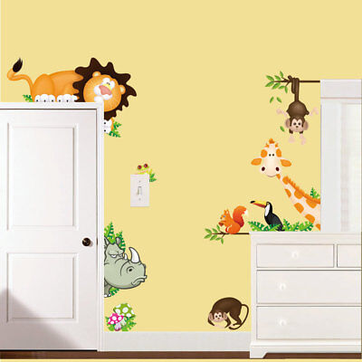 Wall Stickers jungle animals door surround world decal Removable Decor Kids baby