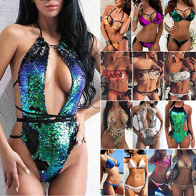 Women Sequins Bikini Monokini Push-up Swimsuit Swimwear Bathing Suit Beachwear