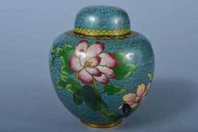 J9308: Chinese Old Copper Colored Flower inlay TEA CADDY Chaire Container