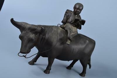 J9362: Japanese XF Old Copper Cattle DOLL Statue sculpture Ornament Figurines