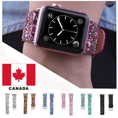 Leather Wrist Band Strap for Apple Watch Series 3 Series 2 Series 1 38/ 42 mm Ca