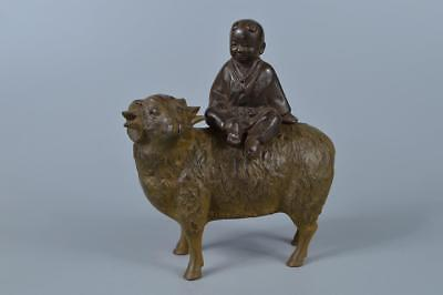 K7071: Japanese Casting copper Goat Person-shaped Nottari ORNAMENTS Display