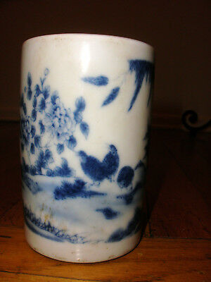 Antique Chinese porcelain blue white decorated landscape birds brush pot signed
