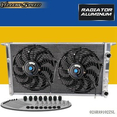 "Aluminum Radiator+2 *12"" Cooling Fan For 94-98 VOLKSWAGEN VW GOLF GTI VR6 MK3 V6"