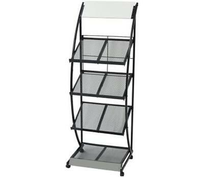 Magazine Rack Stand Metal Office Document Organiser Newspaper Display  Holder NEW