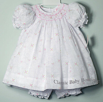 NWT Petit Ami White Bishop Smocked Baby Dress 3 6 9 Months Daygown /& Bonnet