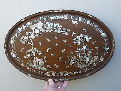 A Fine Antique Chinese Mother of Pearl Inlaid Tray c1880