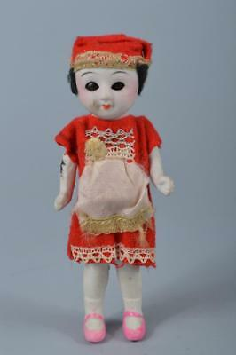 K7143: Japanese Old Pottery Bisque Doll Toy