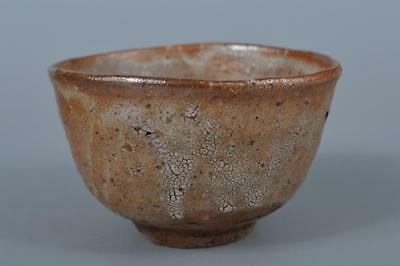 K8097: Japan Old Karatsu-ware White glaze TEA BOWL Green tea tool Tea Ceremony