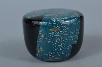 K8082: Japanese Wooden Lacquer ware Dragonfly pattern TEA CADDY Natsume