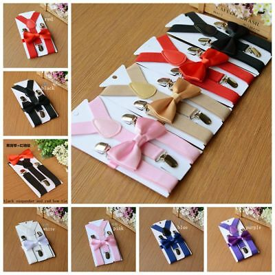 SUSPENDER and BOW TIE Matching SET Wedding Tuxedo Suit Party for Baby Boy Kids