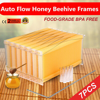 7PCS Auto Honey Beekeeping Beehive Raw Bee Comb Hive Frames Harvesting DHL