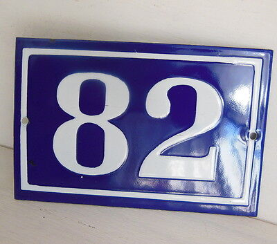 OLD FRENCH HOUSE NUMBER SIGN door gate PLATE PLAQUE Enamel steel metal 82 Blue
