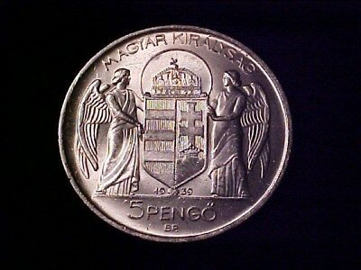 Hungary 5 Pengo Silver Crown 1939 By Horthy 2 Winged Angels