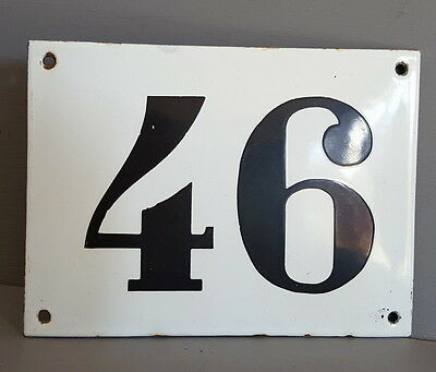 LARGE ANTIQUE FRENCH ENAMEL METAL DOOR HOUSE GATE NUMBER SIGN Black & white 46