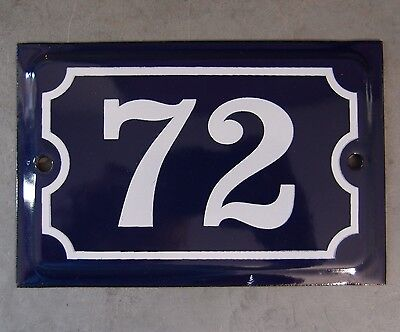 Antique French Dark Blue Enamel Porcelain Door House Gate Number Sign Plate 72