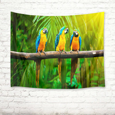 Birds Parrots On Cliff Painting Wall Hanging Tapestry Smooth Supple Multi-size