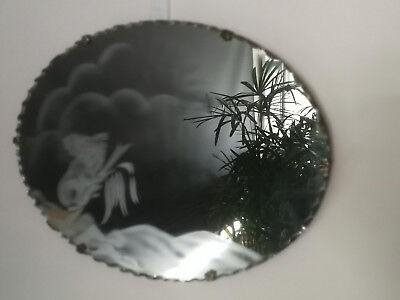 VINTAGE ART DECO SCALLOPED EDGE OBLONG WALL HANGING MIRROR with ETCHED KOALA