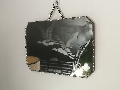 VINTAGE ART DECO SCALLOPED EDGE OBLONG WALL HANGING MIRROR with ETCHED DUCKS