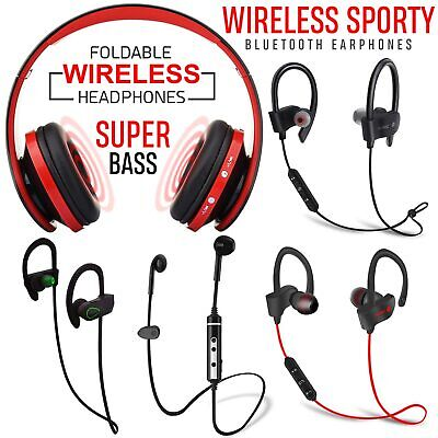 Bluetooth Sweatproof Wireless Earphones Headphones with Mic Sport Gym New