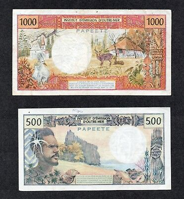 Papeete Banknote / currency / Tahiti / French Pacific Franc 500 & 1,000