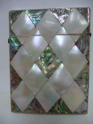 Antique Card Case Mother Of Pearl Real Shell