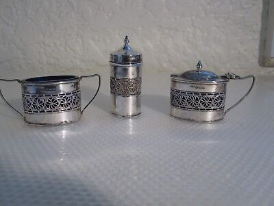 Sterling Silver 3 Piece Muffiner / Cruet Set - William Adams Ltd Birmingham 1936