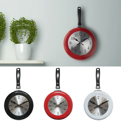 Home Decor Kitchen Wall Clock Frying Pan Small Novelty Design Metal Hot Strict