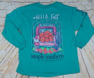 """NWOT Simply Southern """"Hello Fall"""" Youth SMALL Long Sleeve GREEN T-Shirt- READ AD"""