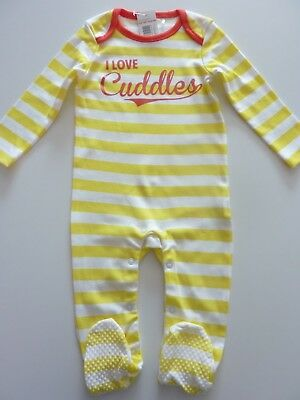 I LOVE CUDDLES Little Yellow Stripe Sleepsuit Size 6-9 Months NWT