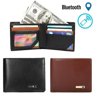 AU Men Genuine Leather Anti-Theft Alarm Bluetooth Phone Smart Wallet Rechargable