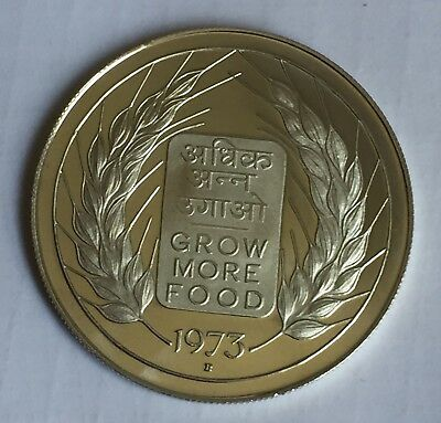 India Republic Silver Proof 20 Rupees 1973 Fao