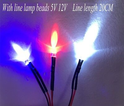 10pcs 20CM Pre-wired LED Lamp Beads 5MM Llight Emitting Diode 3/5/12V Multicolor
