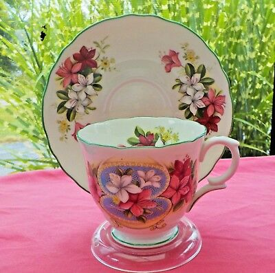Beautiful Crown Staffordshire Teacup/saucer/tea Cup/oriental Lilies/may/england