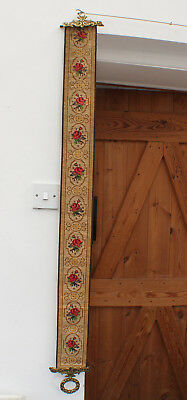 Long Tapestry Needlepoint Bell Pull Brass Ends Floral Roses Flowers