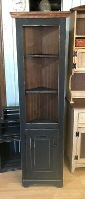 "Solid Wood - 18"" Primitive Corner Cabinet Farmhouse Cottage Cupboard Distressed"